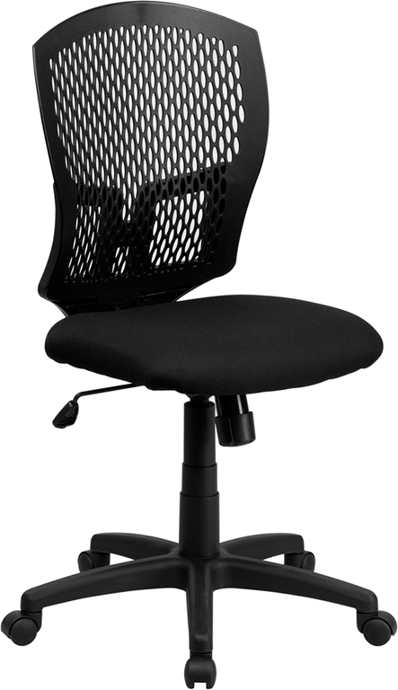 Flash Furniture Mid-Back Designer Back Task Chair with Padded Fabric Seat [WL-3958SYG-BK-GG]