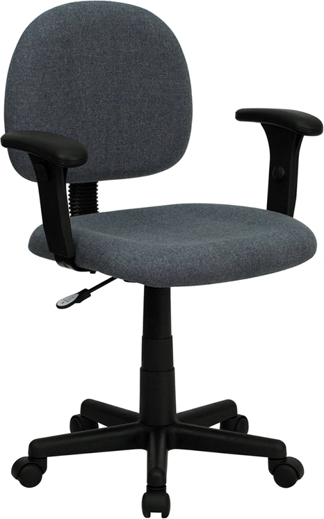 Flash Furniture Mid-Back Ergonomic Gray Fabric Task Chair with Adjustable Arms [BT-660-1-GY-GG]