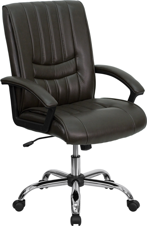 Flash Furniture Mid-Back Espresso Brown Leather Manager's Chair [BT-9076-BRN-GG]
