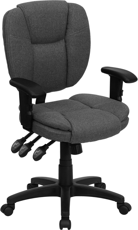 Flash Furniture Mid-Back Gray Fabric Multi-Functional Ergonomic Task Chair with Arms [GO-930F-GY-ARMS-GG]