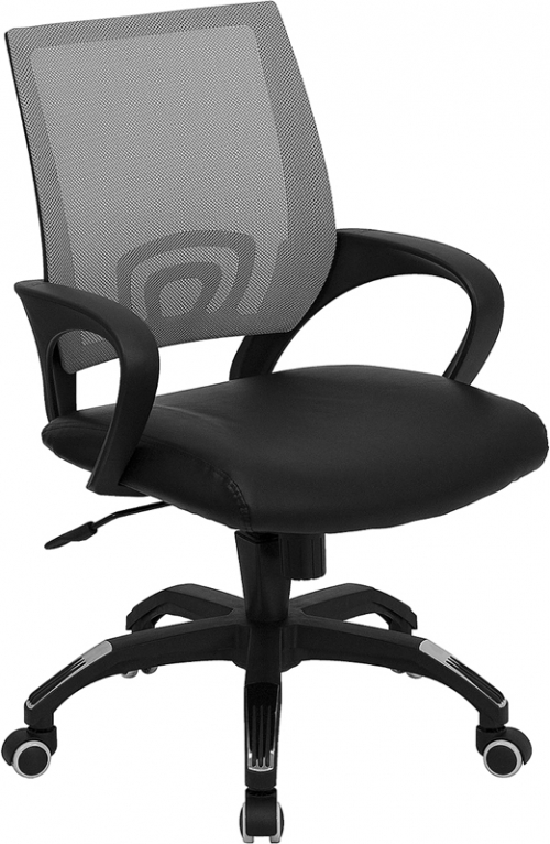 Flash Furniture Mid-Back Gray Mesh Computer Chair with Black Leather Seat [CP-B176A01-GRAY-GG]