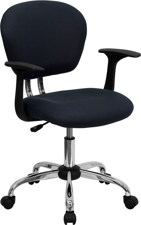 Flash Furniture Mid-Back Gray Mesh Task Chair with Arms and Chrome Base [H-2376-F-GY-ARMS-GG]