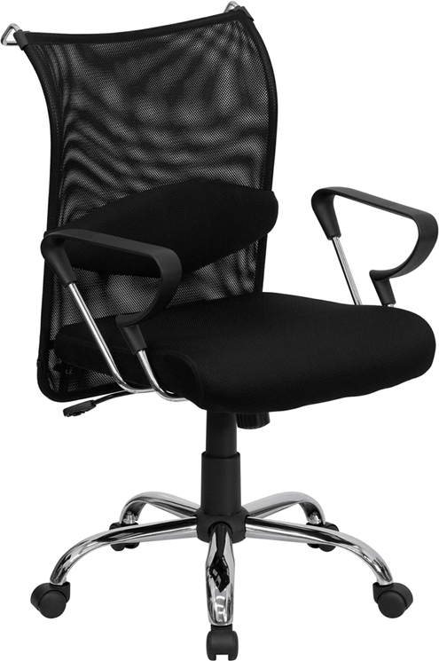Flash Furniture Mid-Back Manager's Chair with Black Mesh Back and Padded Mesh Seat [BT-2905-GG]