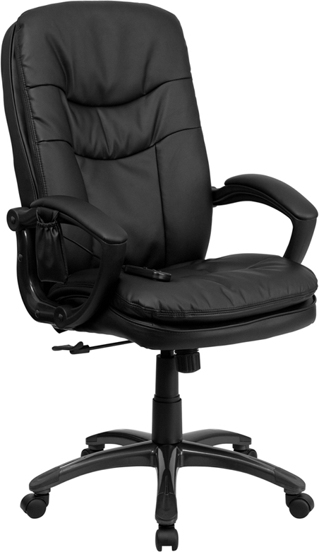 Flash Furniture Mid-Back Flash Furniture Massaging  Black Leather Executive Office Chair [BT-9585P-GG]