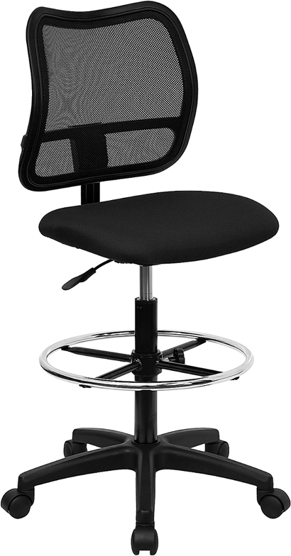 Flash Furniture Mid-Back Mesh Drafting Stool with Black Fabric Seat [WL-A277-BK-D-GG]
