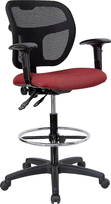 Flash Furniture Mid-Back Mesh Drafting Stool with Burgundy Fabric Seat and Arms [WL-A7671SYG-BY-AD-GG]