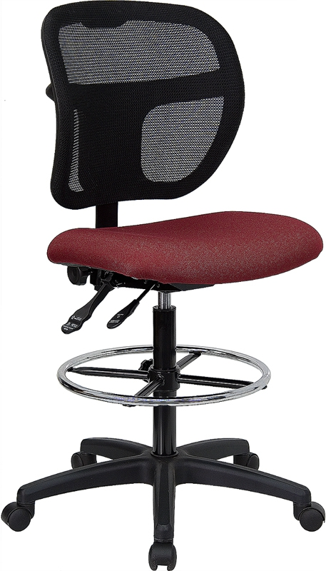 Flash Furniture Mid-Back Mesh Drafting Stool with Burgundy Fabric Seat [WL-A7671SYG-BY-D-GG]