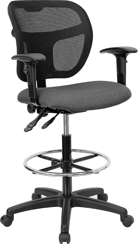 Flash Furniture Mid-Back Mesh Drafting Stool with Gray Fabric Seat and Arms [WL-A7671SYG-GY-AD-GG]
