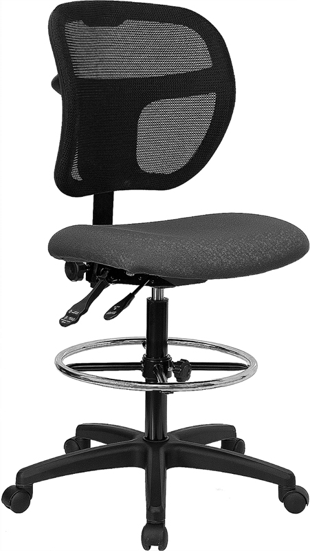 Flash Furniture Mid-Back Mesh Drafting Stool with Gray Fabric Seat [WL-A7671SYG-GY-D-GG]