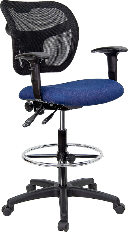 Flash Furniture Mid-Back Mesh Drafting Stool with Navy Blue Fabric Seat and Arms [WL-A7671SYG-NVY-AD-GG]