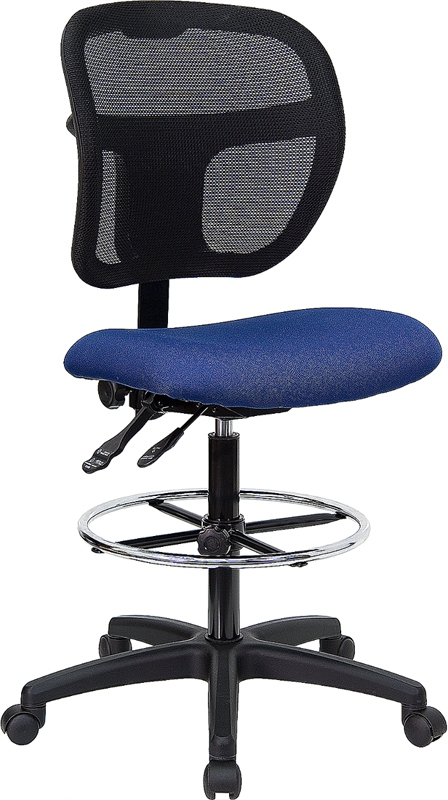 Flash Furniture Mid-Back Mesh Drafting Stool with Navy Blue Fabric Seat [WL-A7671SYG-NVY-D-GG]