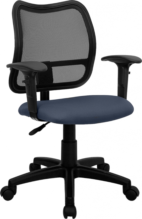 Flash Furniture Mid-Back Mesh Task Chair with Navy Blue Fabric Seat and Arms [WL-A277-NVY-A-GG]