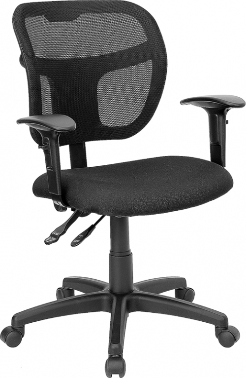 Flash Furniture Mid-Back Mesh Task Chair with Black Fabric Seat and Arms [WL-A7671SYG-BK-A-GG]