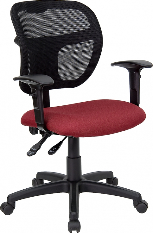 Flash Furniture Mid-Back Mesh Task Chair with Burgundy Fabric Seat and Arms [WL-A7671SYG-BY-A-GG]
