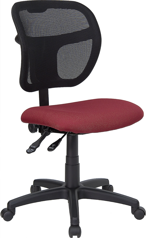 Flash Furniture Mid-Back Mesh Task Chair with Burgundy Fabric Seat [WL-A7671SYG-BY-GG]