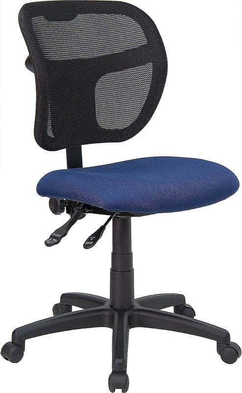 Flash Furniture Mid-Back Mesh Task Chair with Navy Blue Fabric Seat [WL-A7671SYG-NVY-GG]