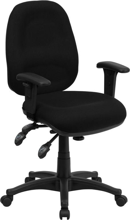 Flash Furniture Mid-Back Multi-Functional Black Fabric Swivel Computer Chair [BT-662-BK-GG]