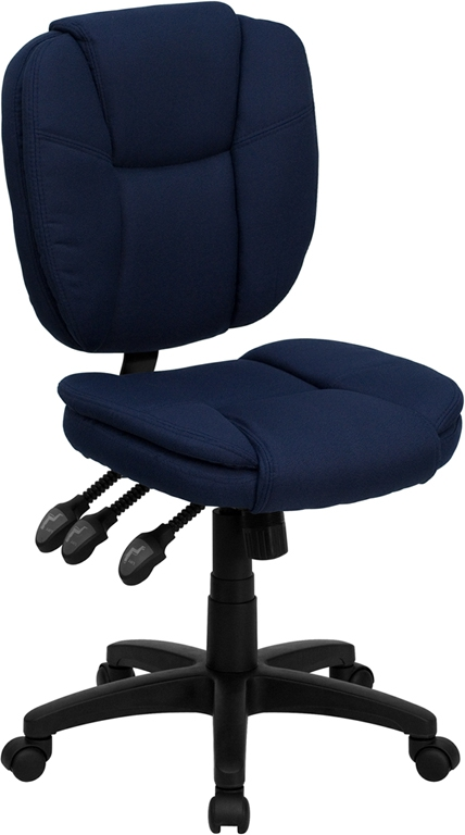 Flash Furniture Mid-Back Navy Blue Fabric Multi-Functional Ergonomic Task Chair [GO-930F-NVY-GG]