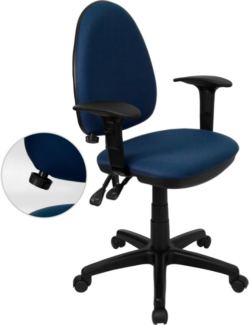 Flash Furniture Mid-Back Navy Blue Fabric Multi-Functional Task Chair with Arms and Adjustable Lumbar Support [WL-A654MG-NVY-A-GG]