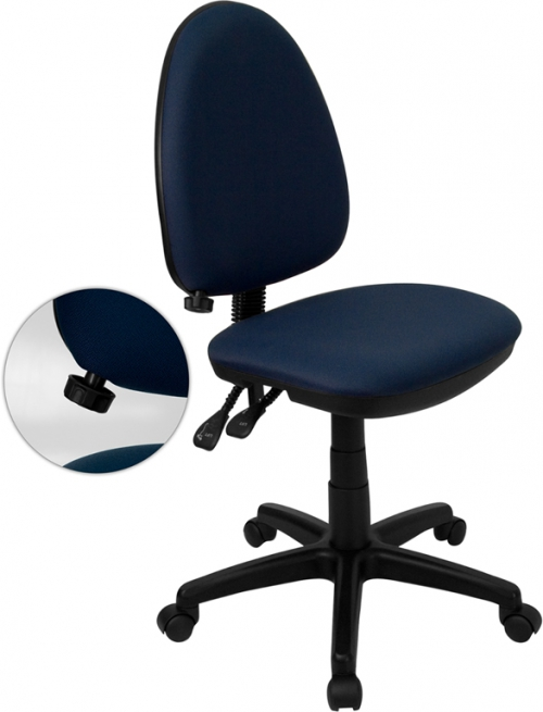 Flash Furniture Mid-Back Navy Blue Fabric Multi-Functional Task Chair with Adjustable Lumbar Support [WL-A654MG-NVY-GG]