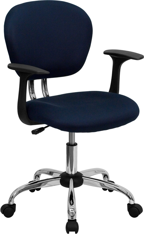 Flash Furniture Mid-Back Navy Mesh Task Chair with Arms and Chrome Base [H-2376-F-NAVY-ARMS-GG]