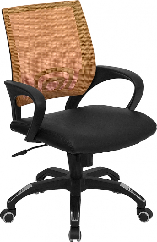 Flash Furniture Mid-Back Orange Mesh Computer Chair with Black Leather Seat [CP-B176A01-ORANGE-GG]