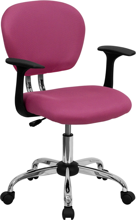 Flash Furniture Mid-Back Pink Mesh Task Chair with Arms and Chrome Base [H-2376-F-PINK-ARMS-GG]