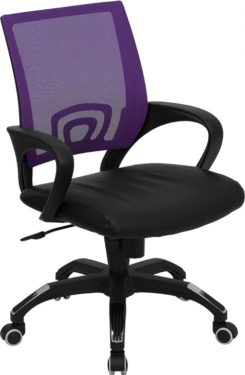 Flash Furniture Mid-Back Purple Mesh Computer Chair with Black Leather Seat [CP-B176A01-PURPLE-GG]