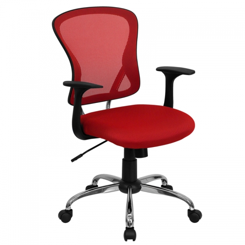 Flash Furniture Mid-Back Red Mesh Office Chair with Chrome Finished Base [H-8369F-RED-GG]