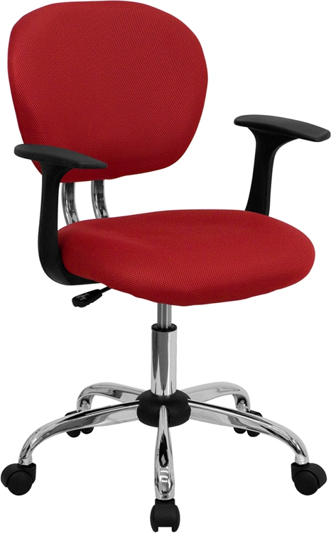 Flash Furniture Mid-Back Red Mesh Task Chair with Arms and Chrome Base [H-2376-F-RED-ARMS-GG]