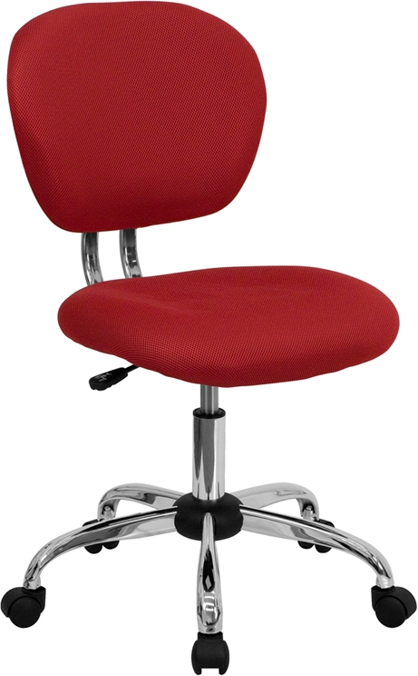 Flash Furniture Mid-Back Red Mesh Task Chair with Chrome Base [H-2376-F-RED-GG]