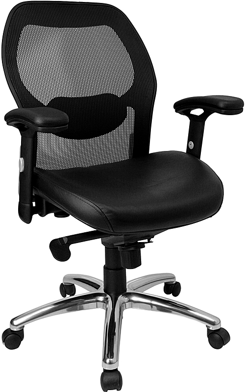 Flash Furniture Mid-Back Super Mesh Office Chair with Black Italian Leather Seat and Knee Tilt Control [LF-W42-L-GG]