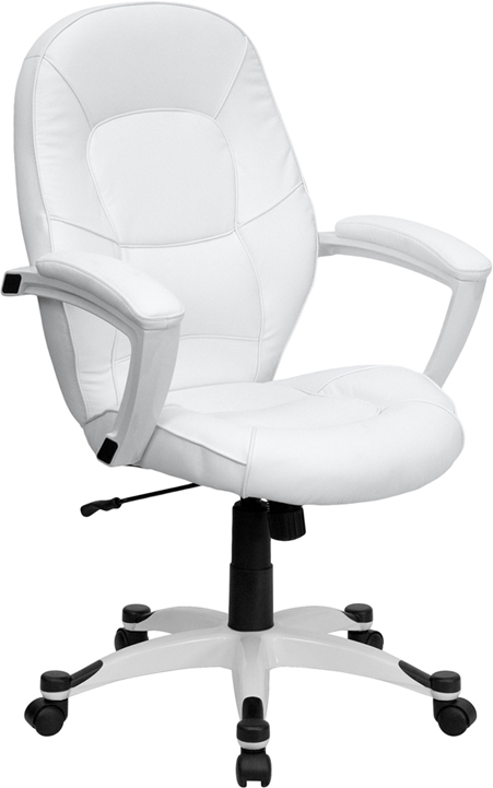 Flash Furniture Mid-Back Flash Furniture White Leather Executive Office Chair [QD-5058M-WHITE-GG]