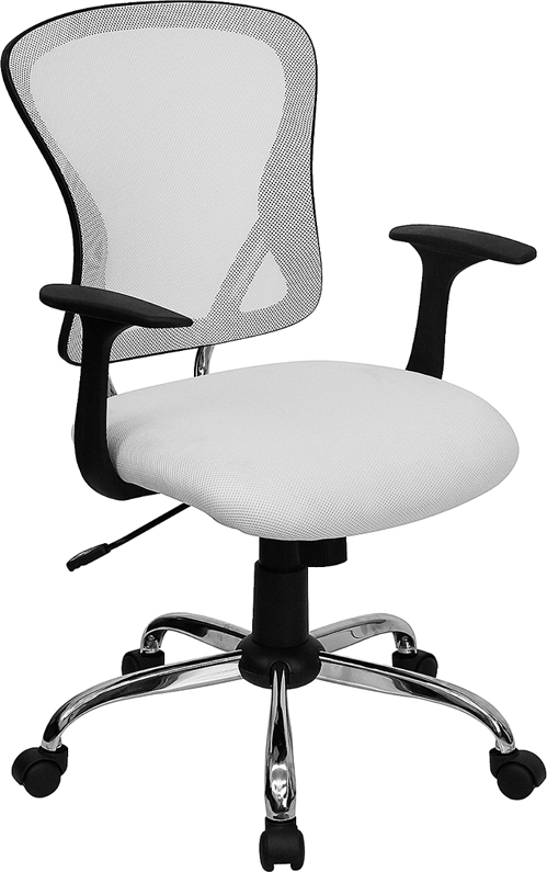 Flash Furniture Mid-Back White Mesh Office Chair with Chrome Finished Base [H-8369F-WHT-GG]