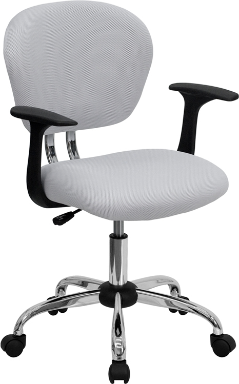 Flash Furniture Mid-Back White Mesh Task Chair with Arms and Chrome Base [H-2376-F-WHT-ARMS-GG]