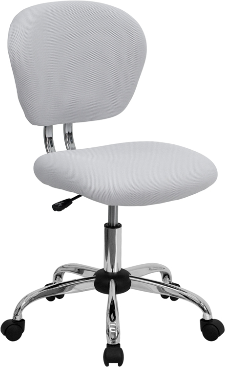 Flash Furniture Mid-Back White Mesh Task Chair with Chrome Base [H-2376-F-WHT-GG]