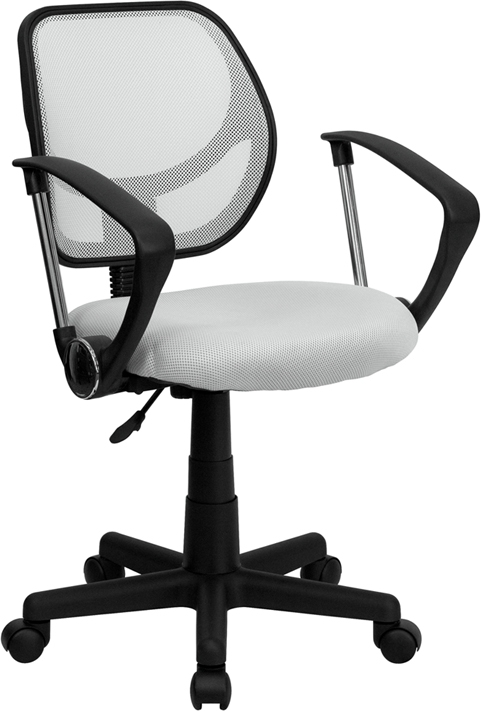 Flash Furniture Mid-Back White Mesh Task Chair and Computer Chair with Arms [WA-3074-WHT-A-GG]