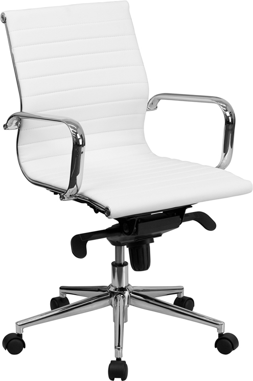 Flash Furniture Mid-Back White Ribbed Upholstered Leather Conference Chair [BT-9826M-WH-GG]