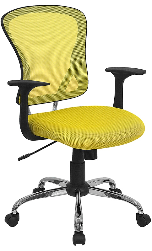 Flash Furniture Mid-Back Yellow Mesh Office Chair with Chrome Finished Base [H-8369F-YEL-GG]