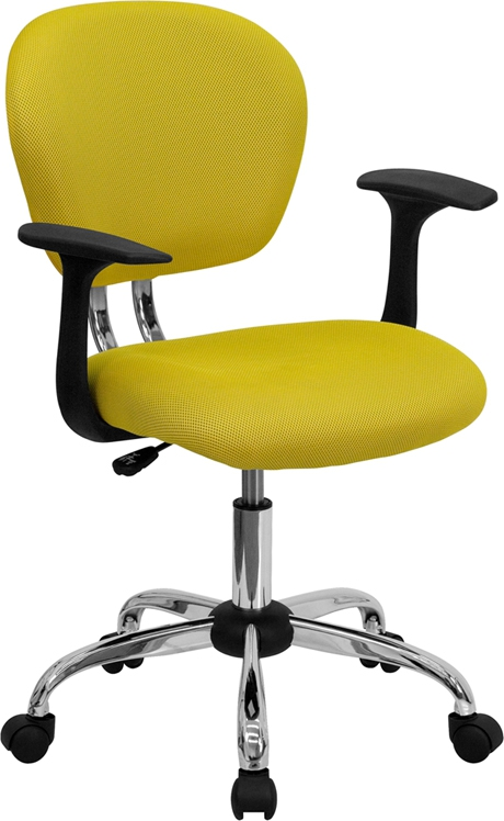 Flash Furniture Mid-Back Yellow Mesh Task Chair with Arms and Chrome Base [H-2376-F-YEL-ARMS-GG]