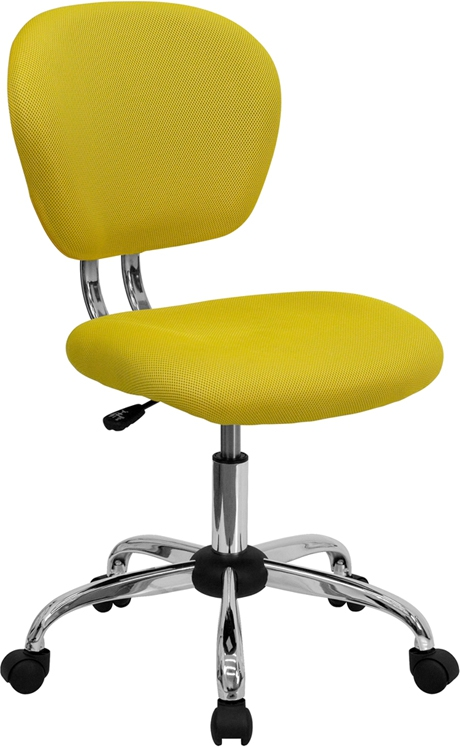 Flash Furniture Mid-Back Yellow Mesh Task Chair with Chrome Base [H-2376-F-YEL-GG]