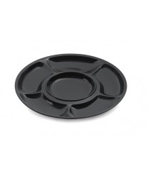 "GET Enterprises APS-6-BK Milano 6-Compartment Black Appetizer Plate 14""(1 Dozen)"