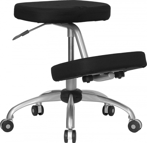 Flash Furniture Mobile Ergonomic Kneeling Chair in Black Fabric with Silver Powder Coated Frame [WL-1425-GG]