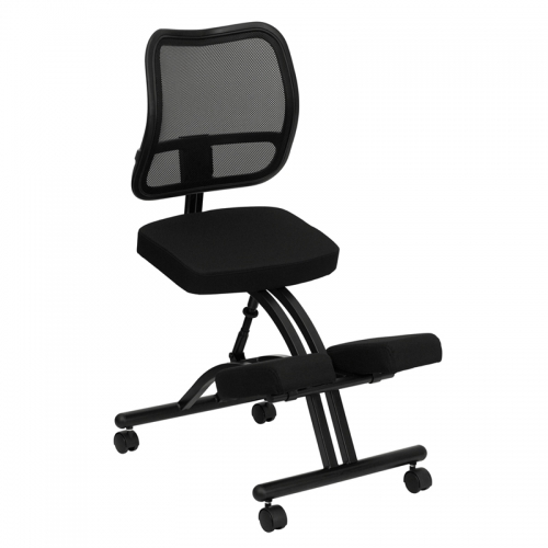 Flash Furniture Mobile Ergonomic Kneeling Chair with Black Curved Mesh Back and Fabric Seat [WL-3520-GG]