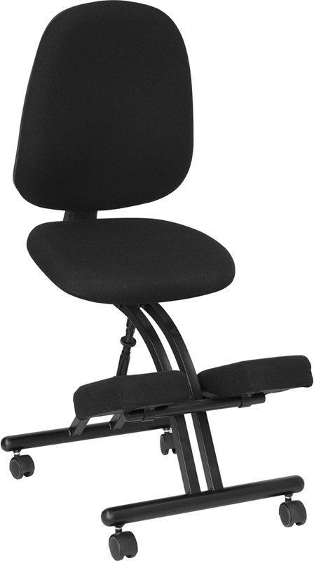 Flash Furniture Mobile Ergonomic Kneeling Posture Chair in Black Fabric with Back [WL-1428-GG]