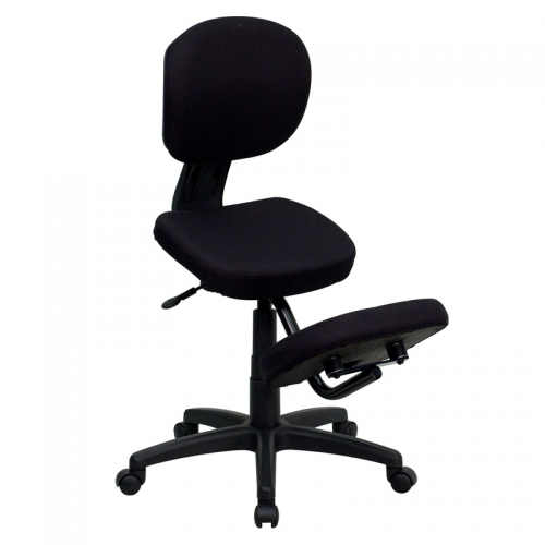 Flash Furniture Mobile Ergonomic Kneeling Posture Task Chair in Black Fabric with Back [WL-1430-GG]