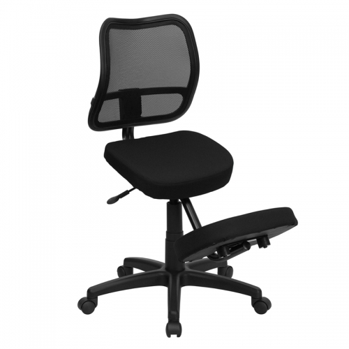 Flash Furniture Mobile Ergonomic Kneeling Task Chair with Black Curved Mesh Back and Fabric Seat [WL-3425-GG]
