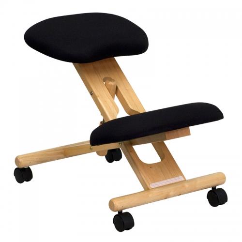 Flash Furniture Mobile Wooden Ergonomic Kneeling Chair in Black Fabric [WL-SB-210-GG]