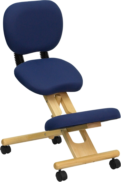 Flash Furniture  Mobile Wooden Ergonomic Kneeling Posture Chair in Navy Blue Fabric with Reclining Back [WL-SB-310-GG]