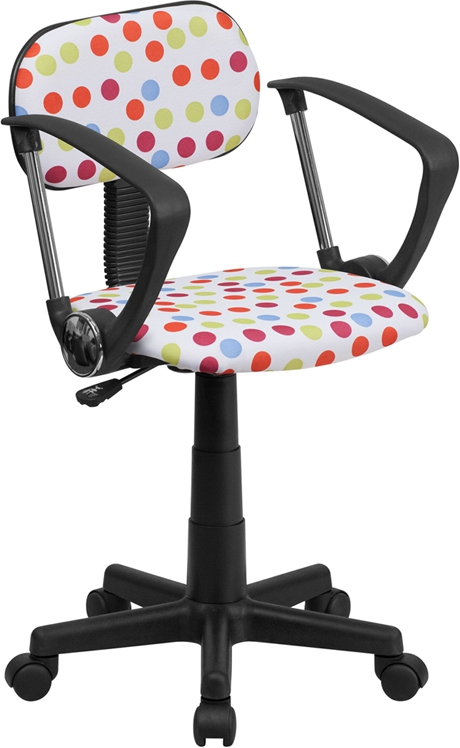 Flash Furniture Multi-Colored Dot Printed Computer Chair with Arms [BT-D-MUL-A-GG]